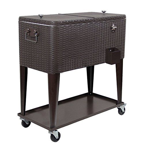Clevr 80 Qt Outdoor Patio Cooler Rolling Cooler Dark Brown Wicker Faux Rattan  Easy to open and close; Uniquely designed dual top can be used as a table surface when closed; Convenient bottle opener and bottle cap catch bin attached to the side  80 quart/20 gallon  Materials: (exterior) Resin Rattan; (interior lining) Polypropylene Plastic (PP); (interior) Polyurethane (PU) Foam (bottle opener) Stainless Steel  Bottom shelf for additional storage and two-sided easy access lid  Durable ...