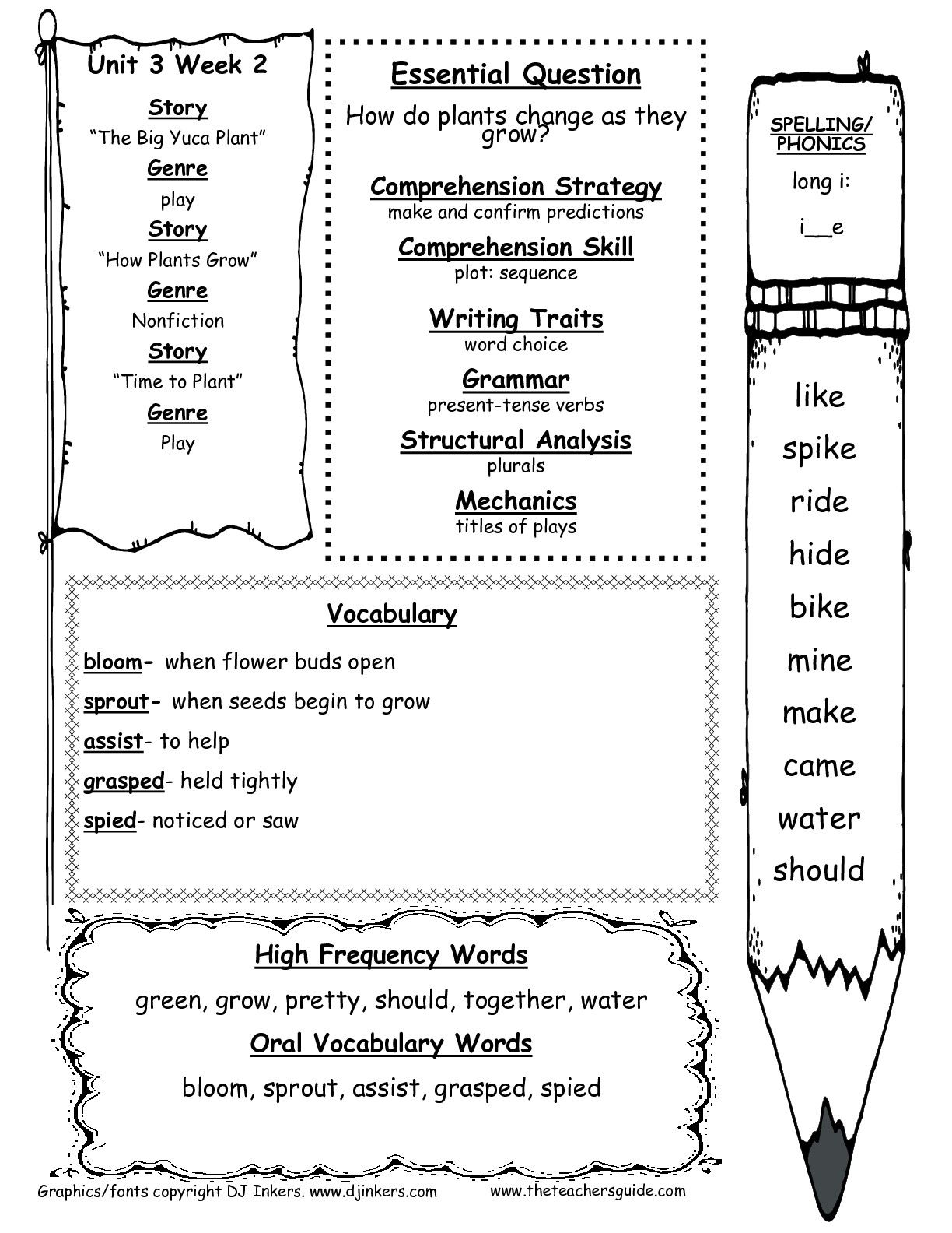 First Grade Wonders Unit 3 Week 2 Weekly Outline
