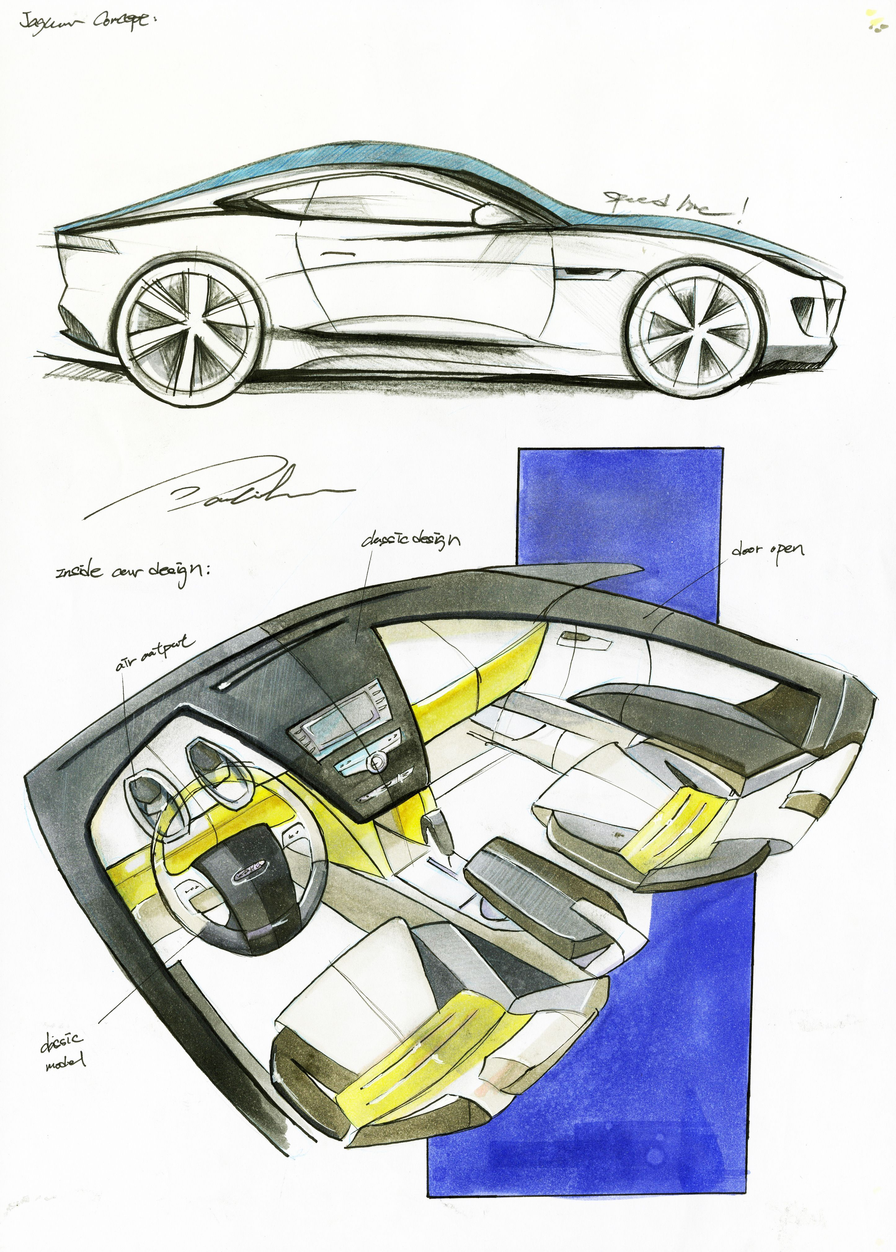 car sketching marker rendering interior design