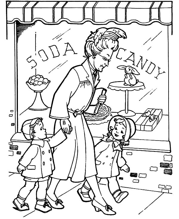 Grandmother Take He Grandchild Walk Around Coloring Pages Color Luna In 2020 Coloring Pages