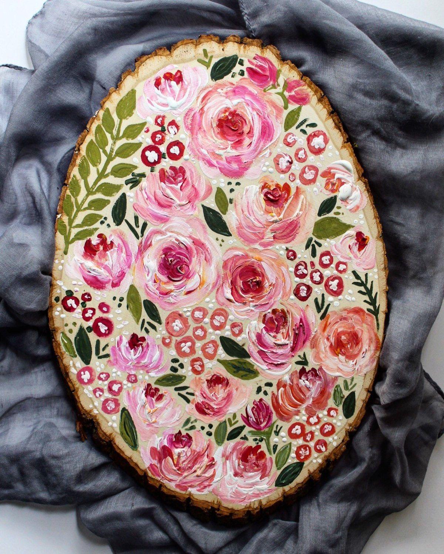 Floral wood slice flower painting cute handpainted