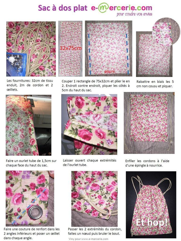 942b13ce05 Sac à dos plat | couture | Couture sac, Tuto couture facile sac ...