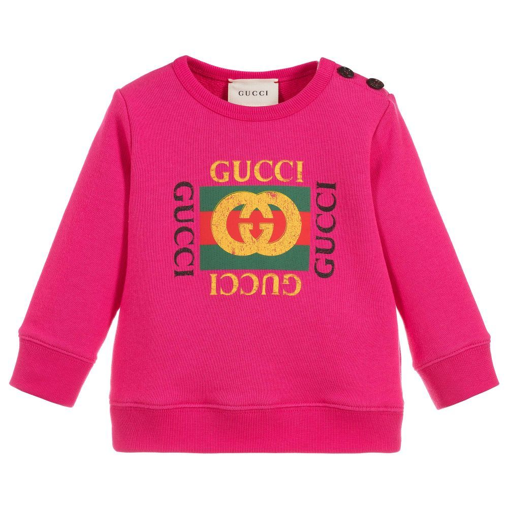 7f700bd7e Girls Pink Cotton Sweatshirt for Girl by Gucci. Discover more beautiful  designer Tops for kids online
