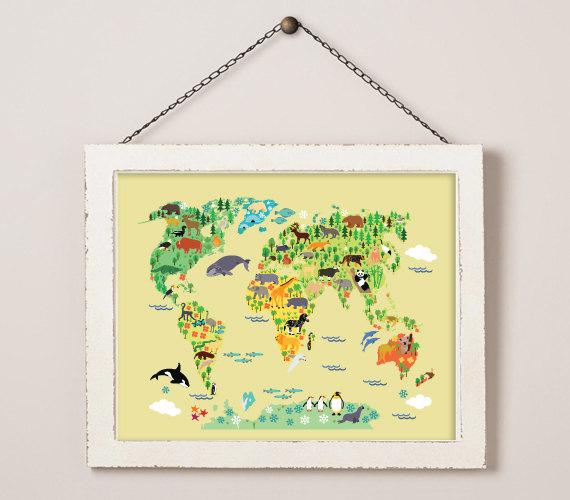 World map printable world animals printable world map animal world map printable world animals printable world map animal print nursery wall art kids room decor world map print world animals 156 sciox Image collections