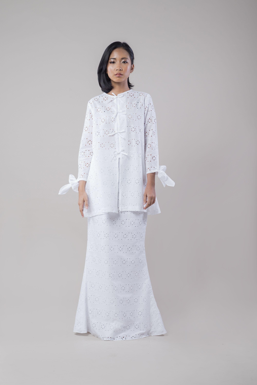 Eyelet Front Tie Set WHITE Sueka sueka Dresses, Lace