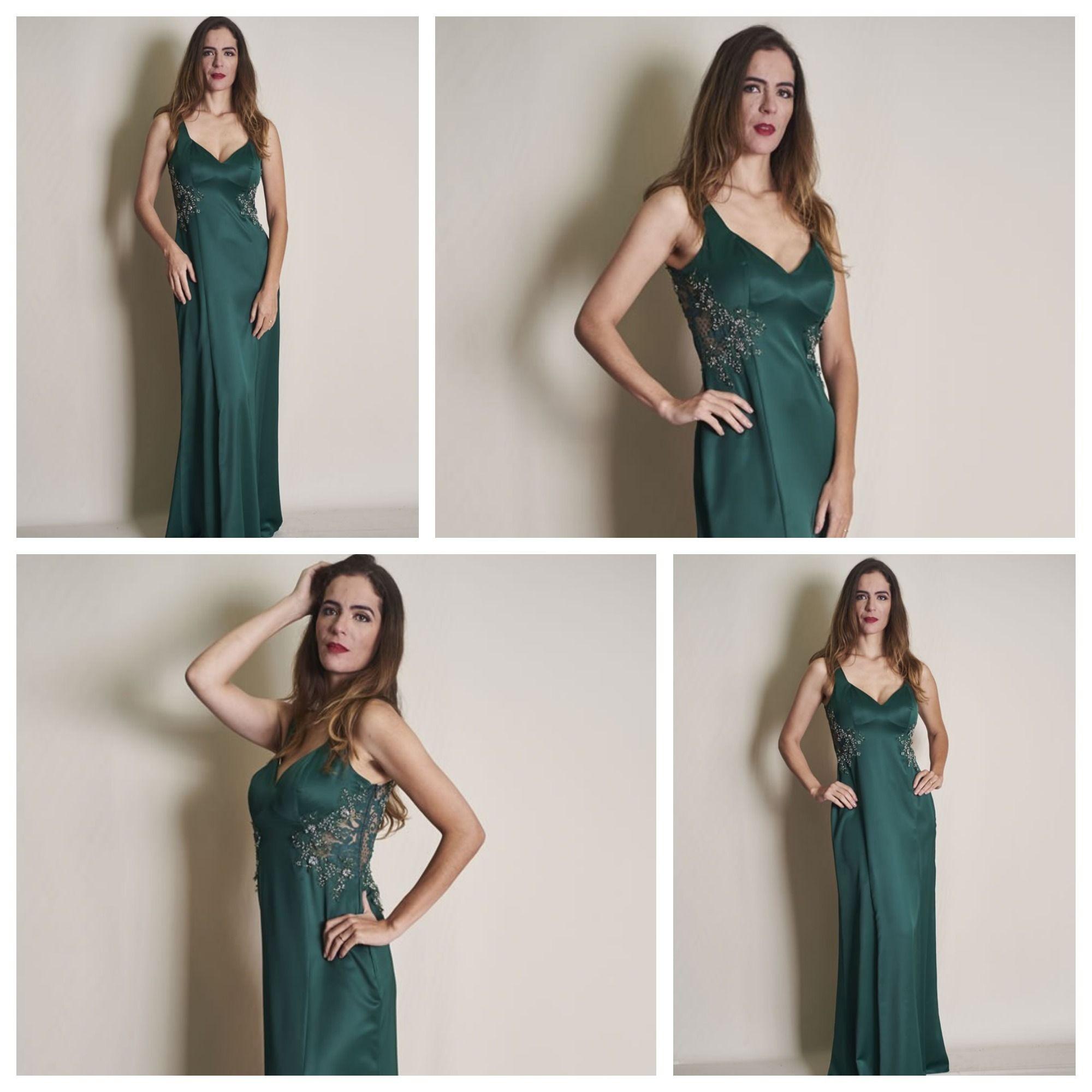 Vestido cetim longo com bordados e transparência! Modelo: Patrícia Chaib Foto: Benhur Studio