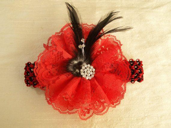 Handmade Headband Red and Black Baby HeadbandsLittle by EdiliaBows