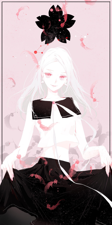 9girl absurdres albino black border black skirt border