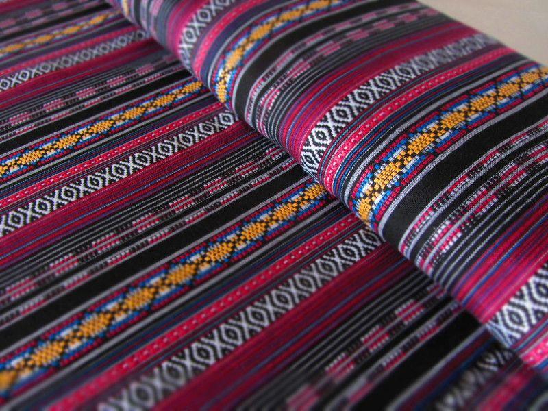 Mexikanischer Ethno Stoff-black/pink {Ikat Muster} von miss minty ...
