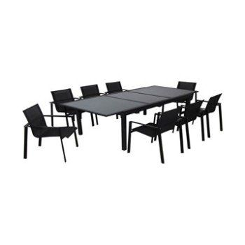 Table de jardin Miami rectangulaire noir 8 personnes Leroy Merlin