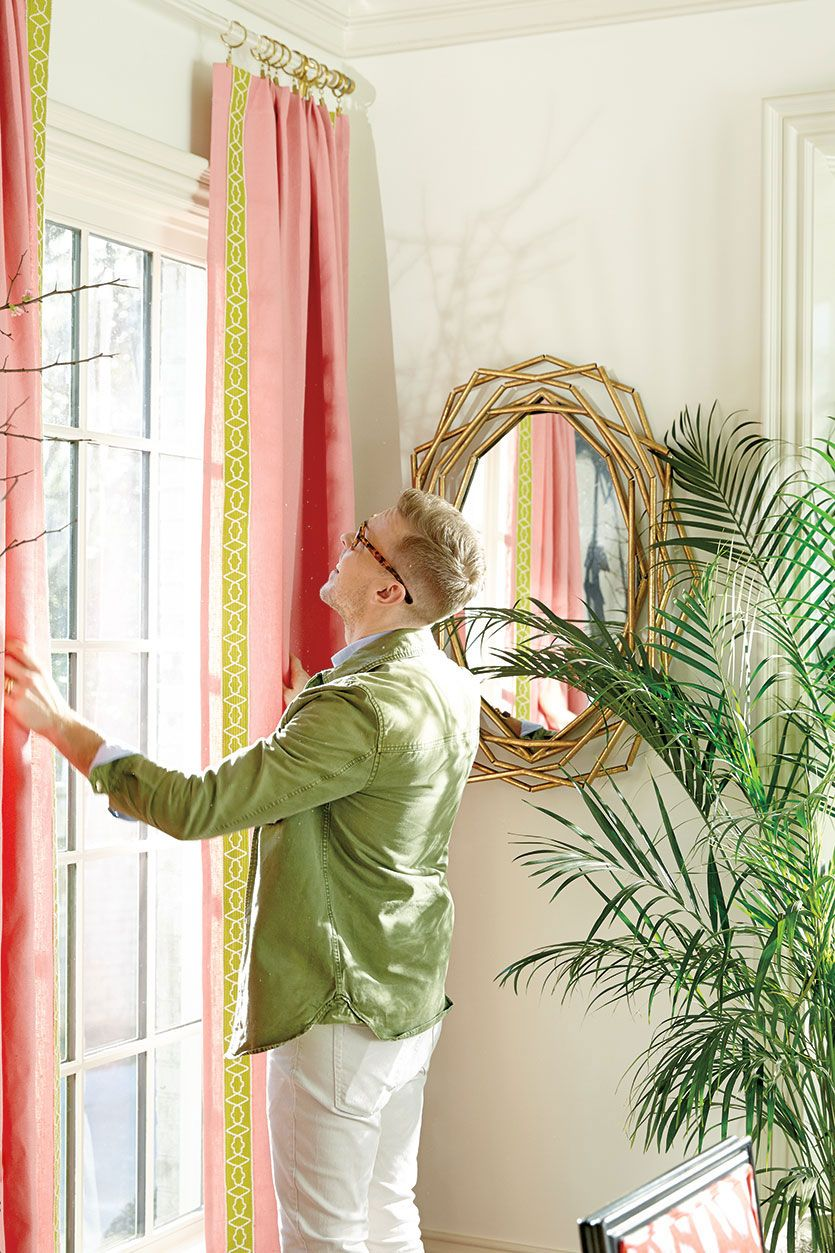 Peony Pink Curtain Panels With Lime Green Tape Trim, Designed By Eddie Ross  For Ballard