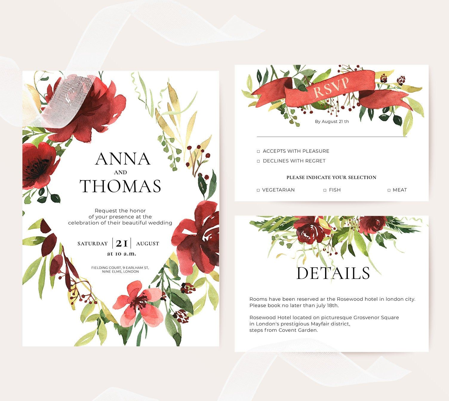 Burgundy wedding invitation Template Suite, Red watercolor