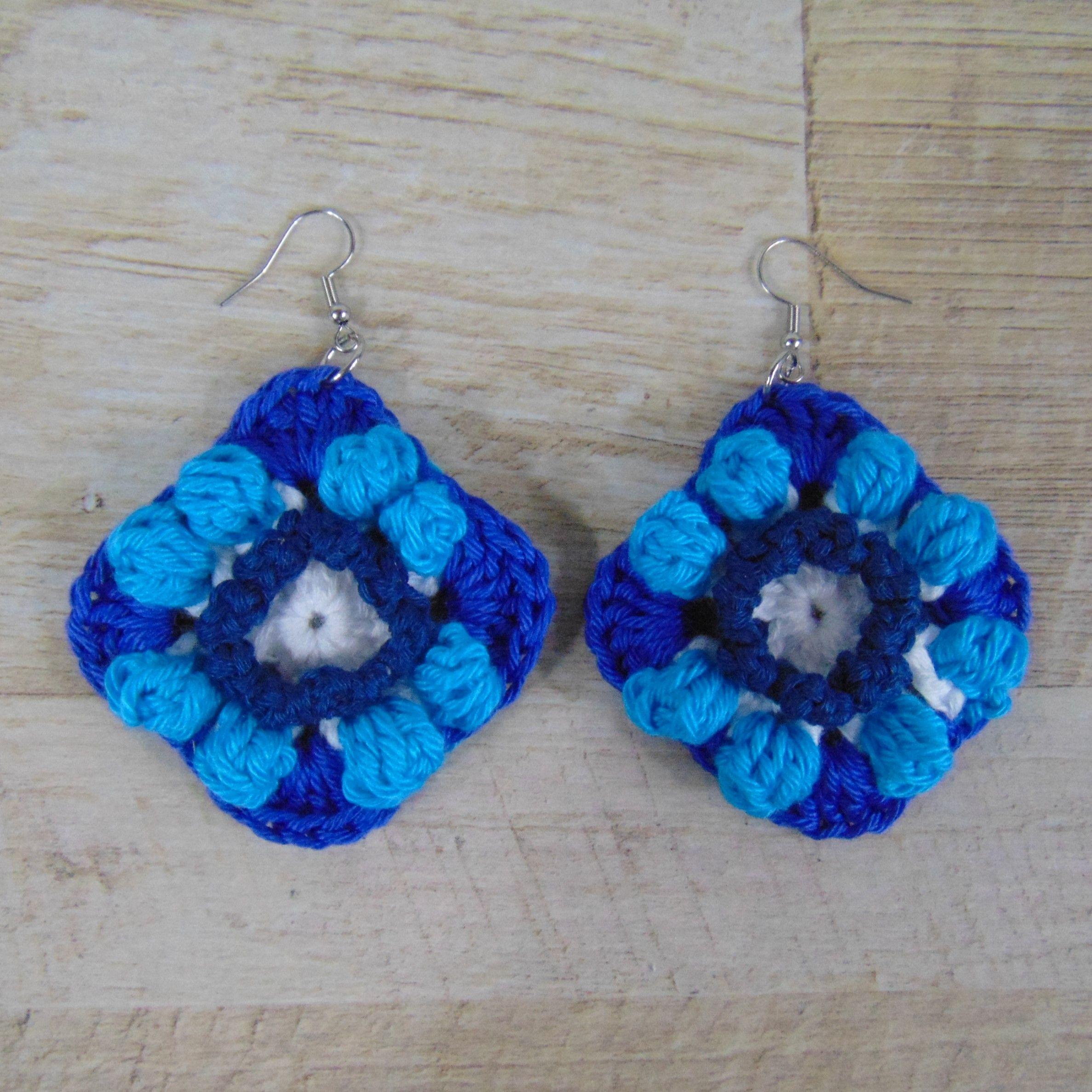 Photo of Bohemian / Hippie Crochet Earrings Blue & White-Bohemian / Hippie Gehaakte Oorbe…
