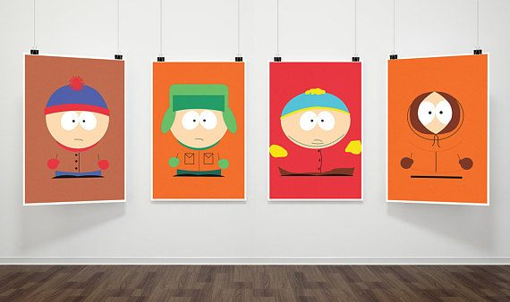 South Park Inspired Poster Print Stan Kyle Cartman Kenny Four Set Print Digital Download Wall Art Tv Show Art Mi Poster Prints South Park Poster