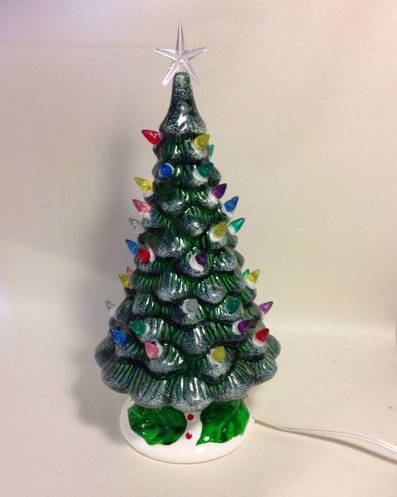 Vintage 12 Ceramic Christmas Tree  Lit by SylviasVintageKitsch