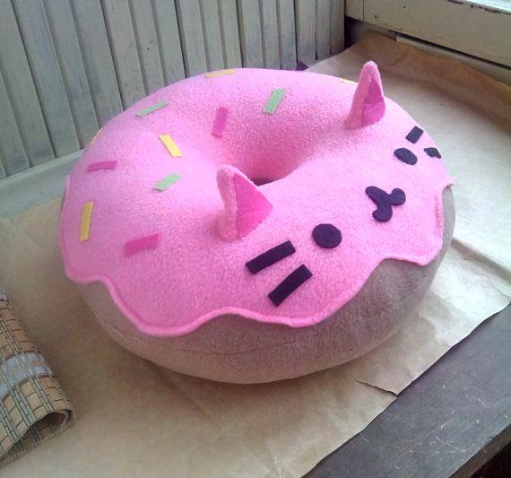 Cat Pillow Kitty Cat Donut Pillow Plush Pink Free Shipping Donut Pillow Kawaii Diy Kawaii Plushies