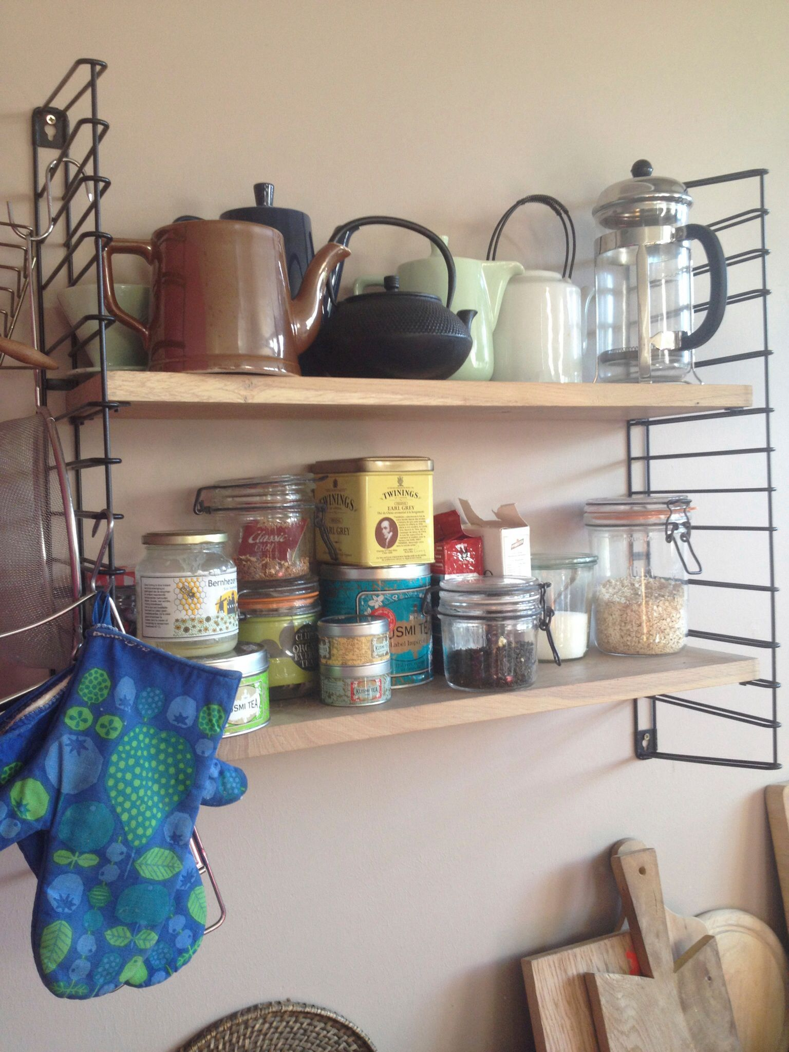 My vintage Tomado Kitchen Shelves, with my addition of oak shelves.