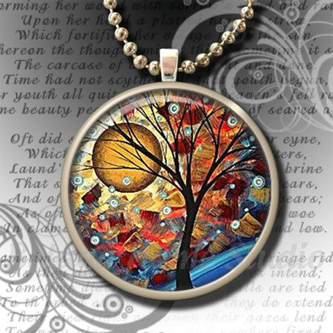 Whimsical Harvest Moon Resin Art Pendant by Beluga Home Studio: $8.95