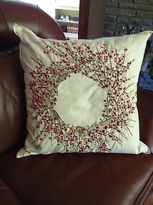 Pottery Barn Berry Embroidered Wreath Pillow Cover Red