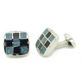 Jet & Aquamarine Color Ceramic Checker Design Square Cufflinks
