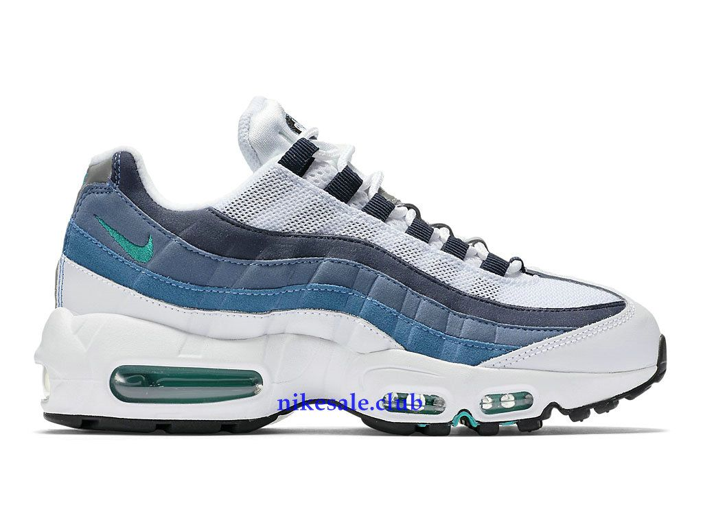 promo code f0bb4 b6c39 Nike Air Max 95 OG Prix -Nike Sale Chaussures BasketBall Pas Cher Pour  Femme Blanc Gris Bleu 307960-100