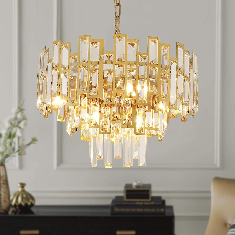 Antilisha Gold Crystal Chandelier Lighting For Dining Rooms Kids Bedroom Foyer Entr In 2020 Ceiling Lamps Bedroom Crystal Chandelier Lighting Modern Crystal Chandelier