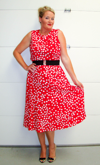 Vintage 1980/'s White and Red Polka Dot Dress LXL