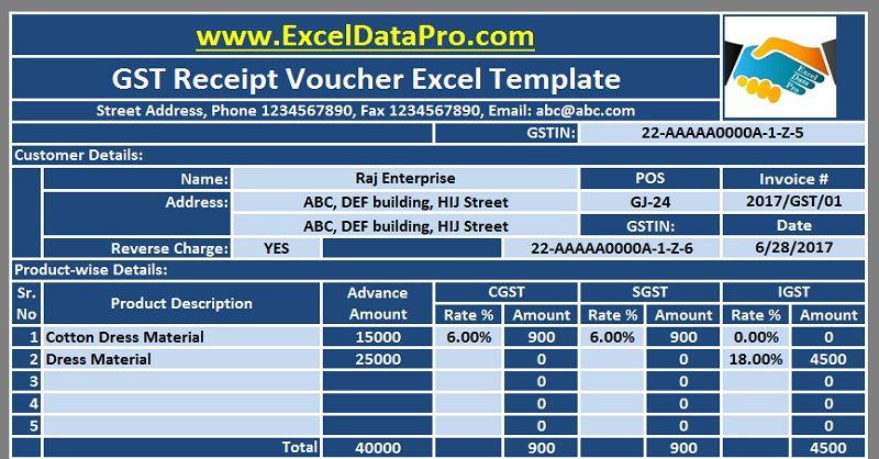 Download Gst Receipt Voucher Excel Template For Advance Payments Under Gst Exceldatapro Excel Templates Templates Invoice Template
