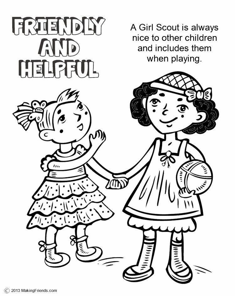 The Law Friendly And Helpful Coloring Page Girl Scout Law Girl