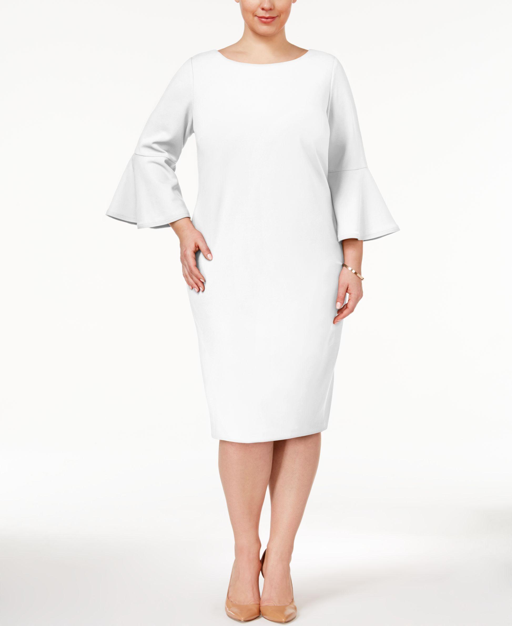 ea70b6ec22f Calvin Klein Plus Size Bell-Sleeve Sheath Dress