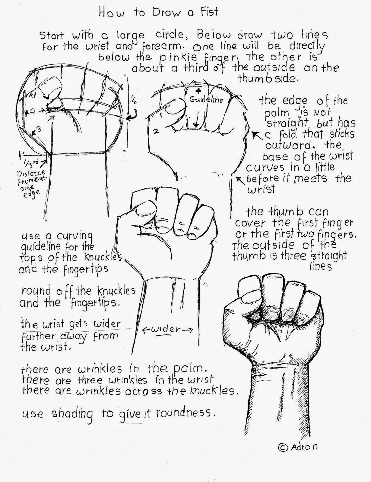 How To Draw A Clenched Fist Worksheet