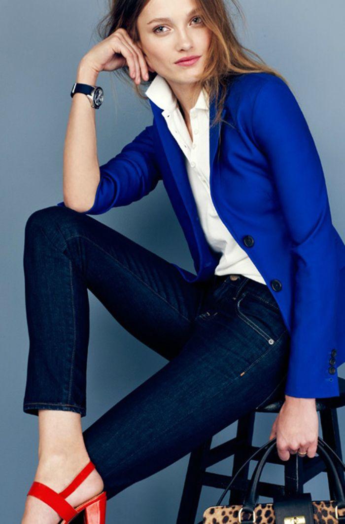 Blazer azul electrico mujer