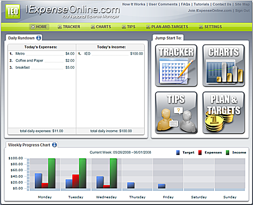 IExpenseOnline - Online Expense Manager and Budgeting Tool