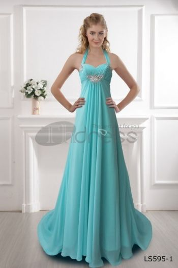 Blue princess dress neck dress blue dress sweet ground | Guest ...
