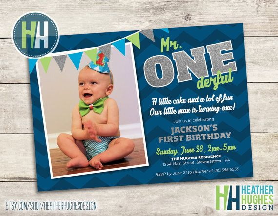 Boy First Birthday Invite 1st Birthday Printable Invitation Etsy Boy First Birthday Birthday Invitations Mr Onederful Birthday Party Ideas