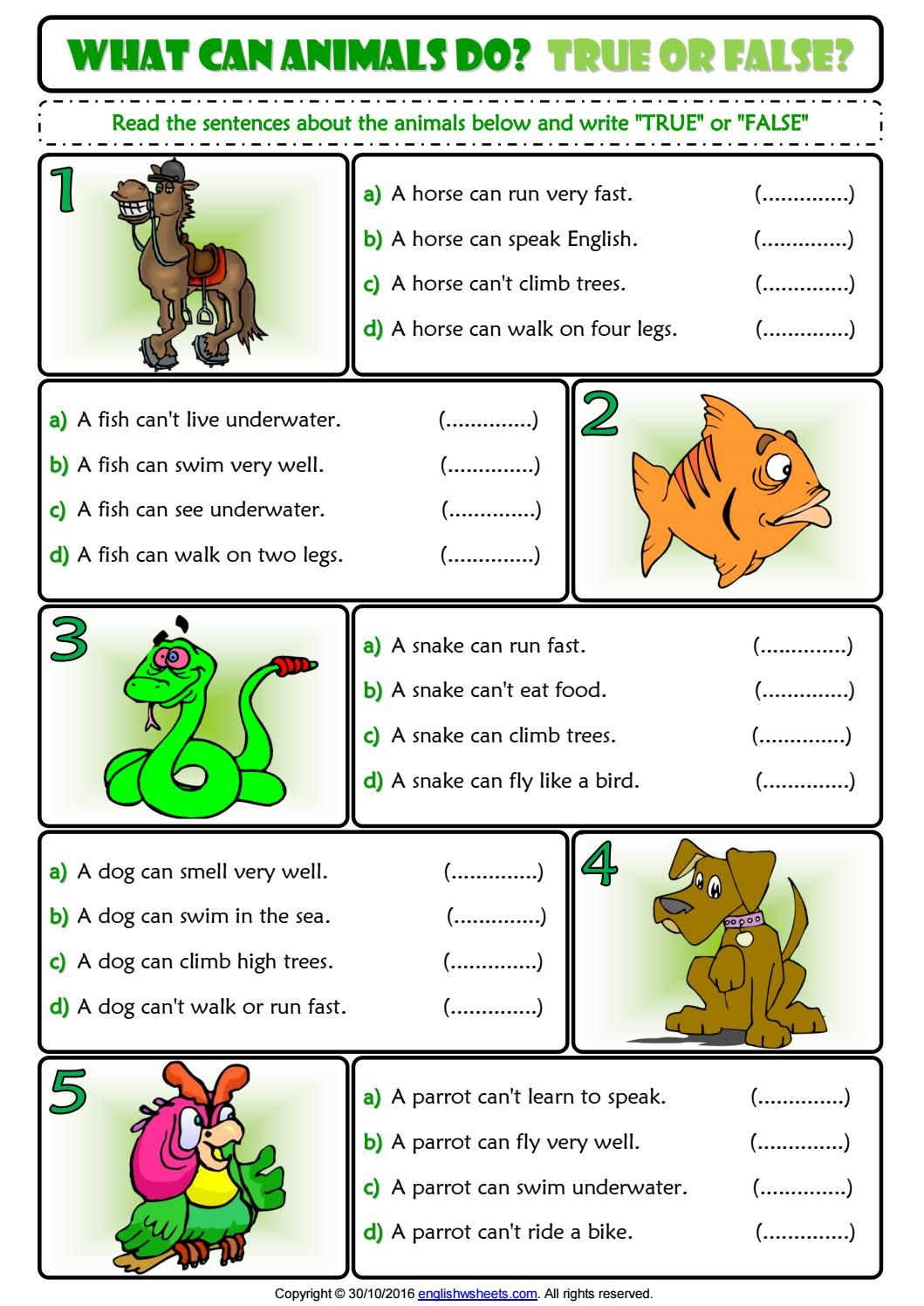 Ability And Inability True Or False Esl Exercise Worksheet For Kids Worksheets For Kids Esl Worksheets For Beginners English Lessons For Kids [ 1497 x 1059 Pixel ]