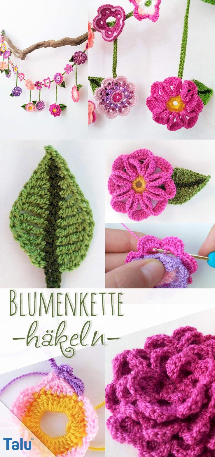 Blumenkette häkeln – Kostenlose Anleitung für Blumengirlande