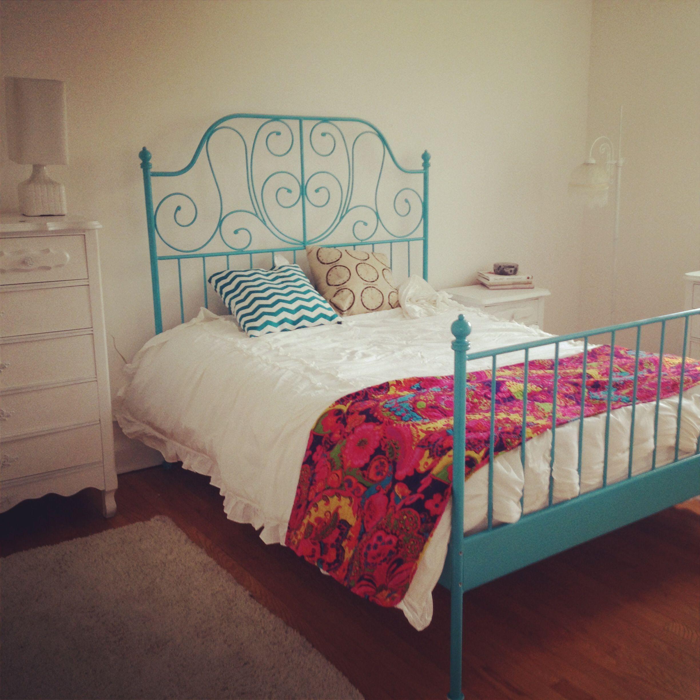 Blue iron bed Bedroom Pinterest