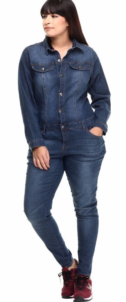 Details about Plus Size Denim Jumpsuit Long Sleeve Button Up ...