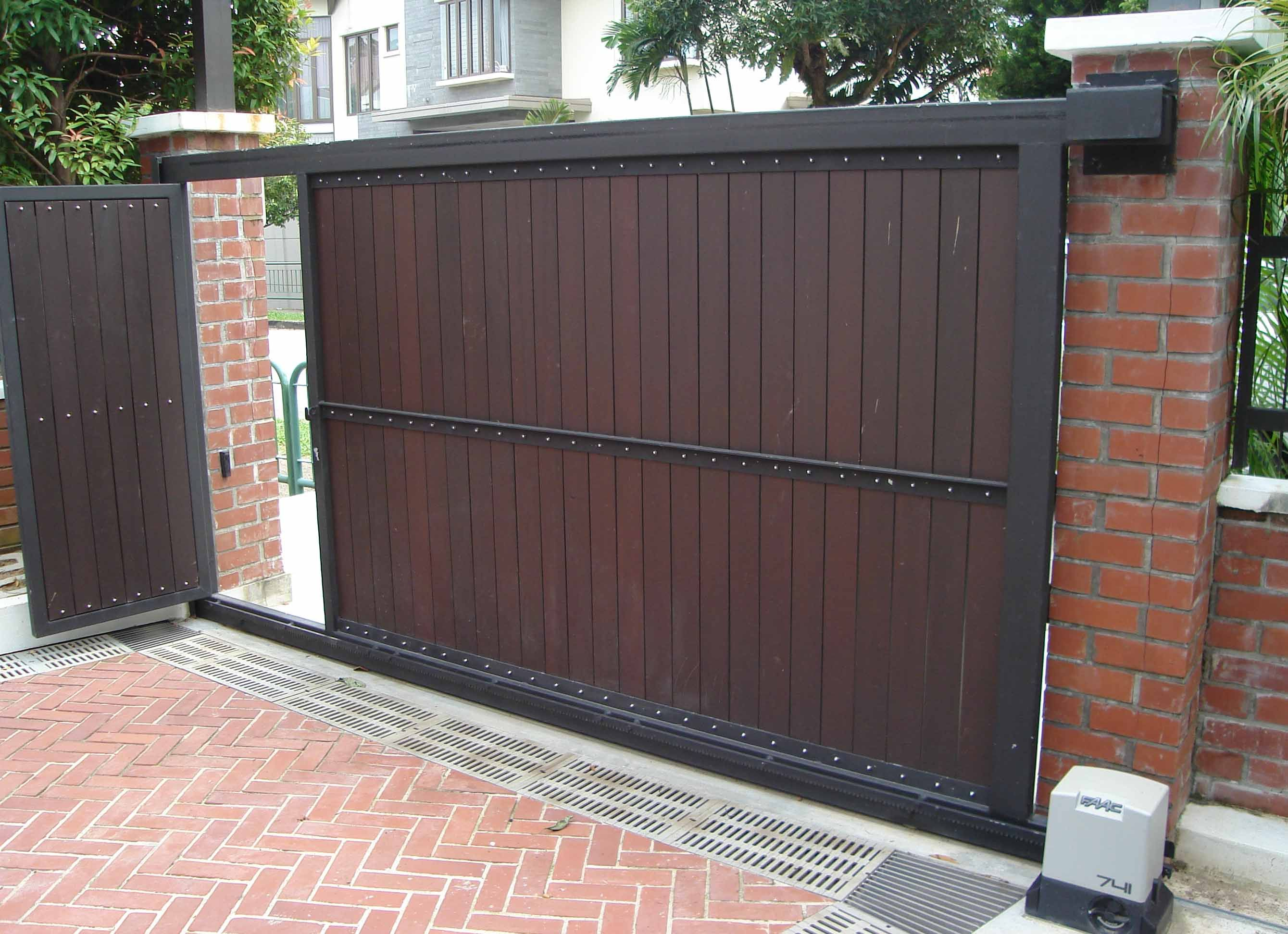 Galvanized steel frame drive gate fence dallas wood gate - Imagini Pentru Sliding Driveway Gates With Pedestrian Access