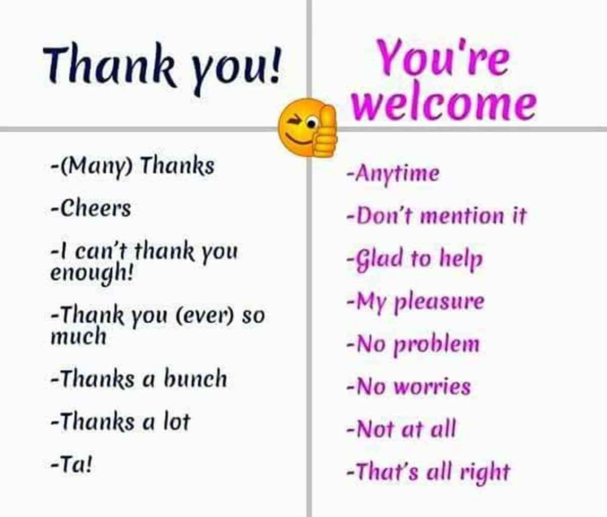 Other Ways To Say Thank You You Re Welcome I M Sorry Eslbuzz Learning English Learn English Learn English Words Other Ways To Say