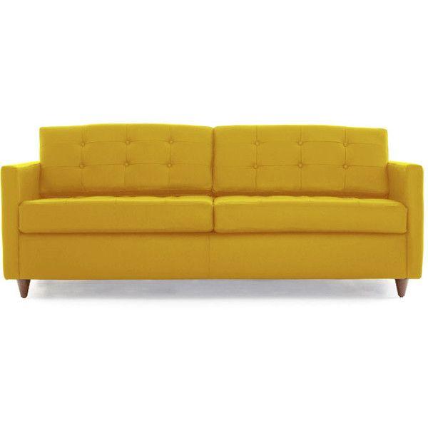 Joybird Eliot Mid Century Modern Yellow Leather Sleeper Sofa ...