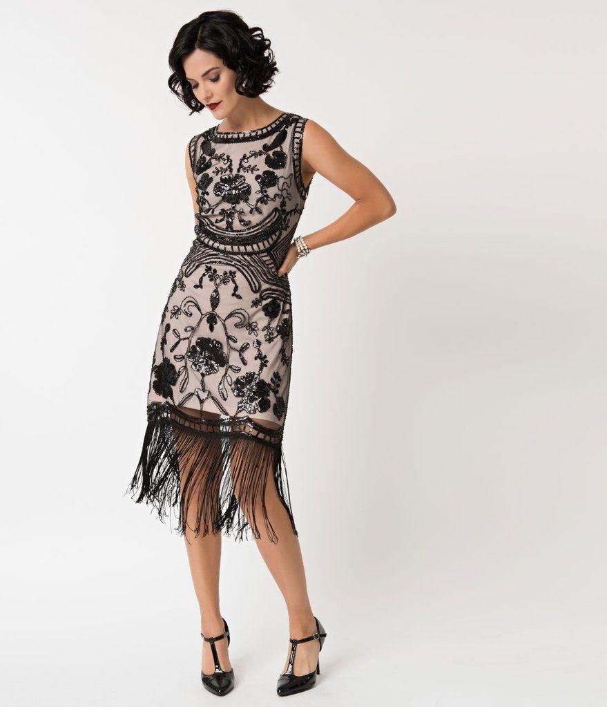 Unique Vintage 1920s Style Blush Pink Black Sequin Isabeau Cocktail Dress 1920s Fashion Dresses Dresses 1920s Fashion [ 1023 x 879 Pixel ]