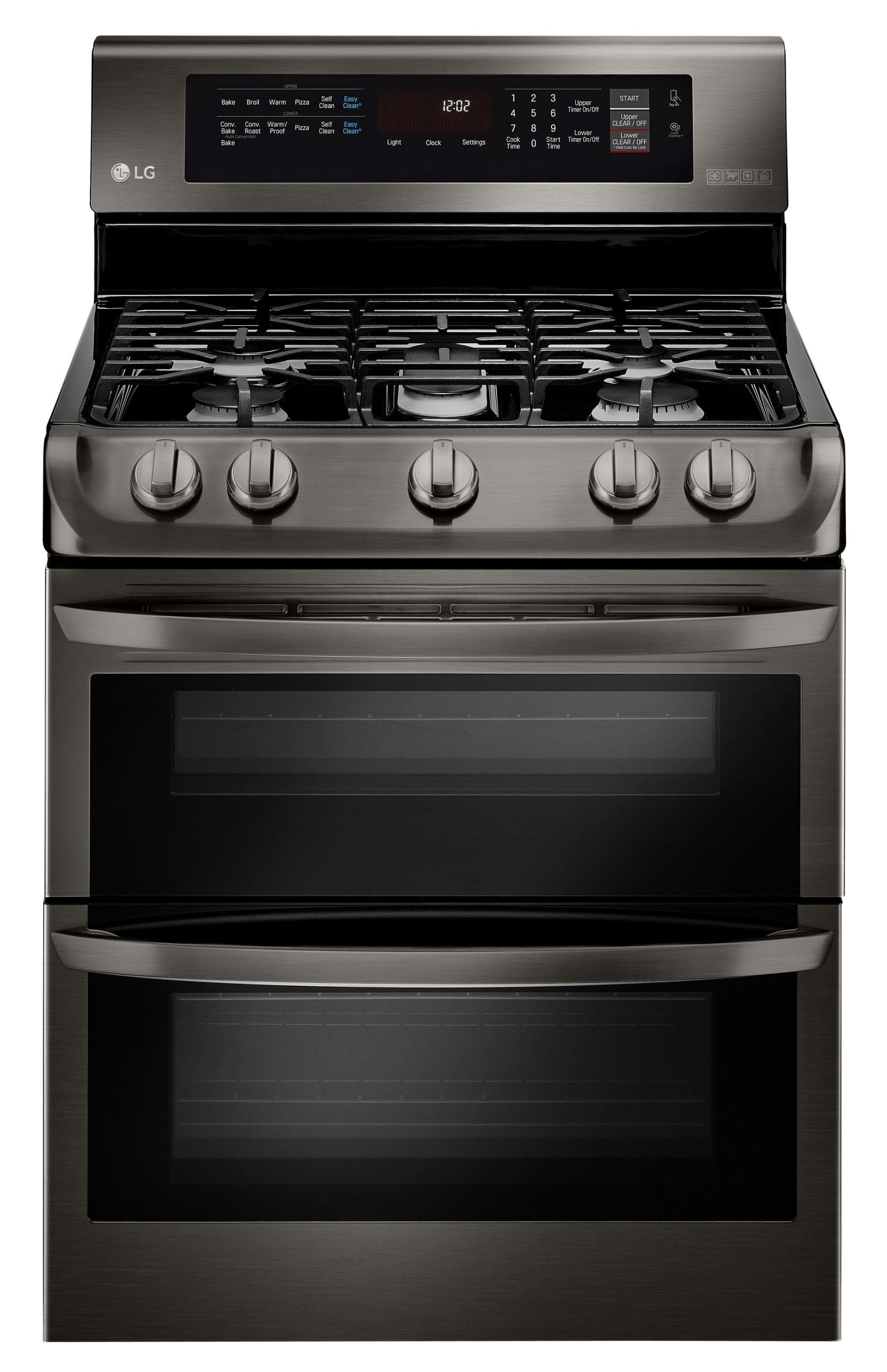 "30"" Black Stainless Steel Gas Sealed Burner Double Oven Range"