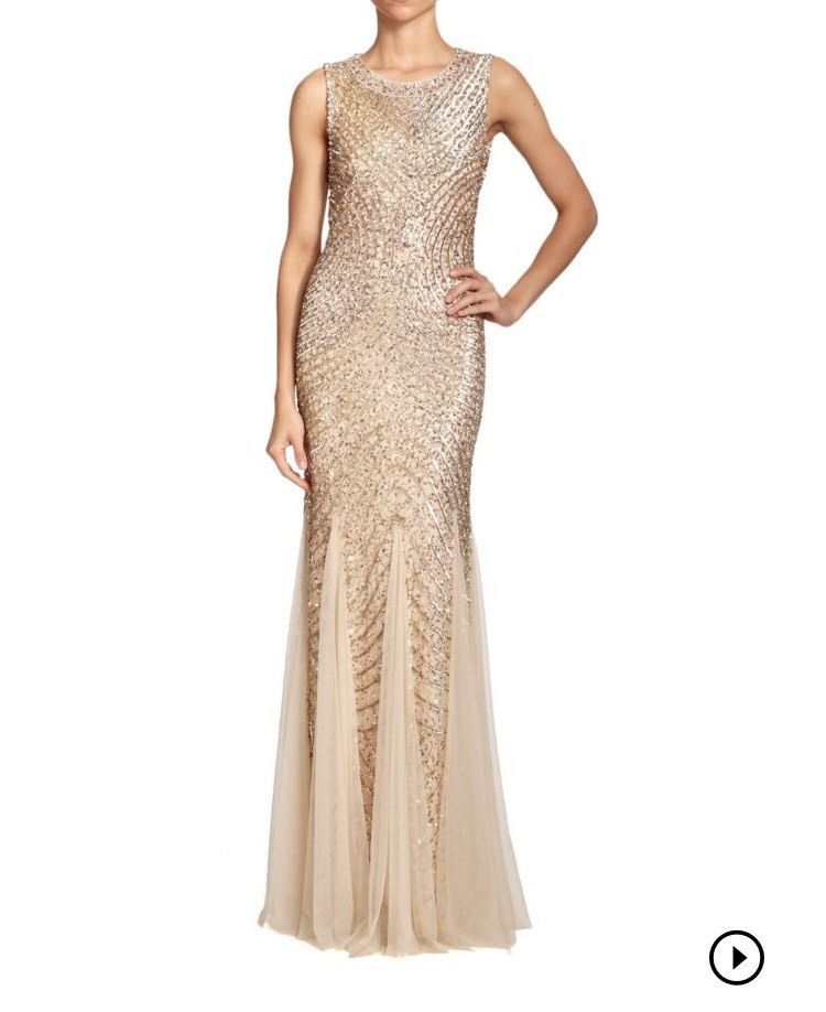 Aidan Mattox sequined Godet Gown, Color: Gold, Size: 12   Dresses ...