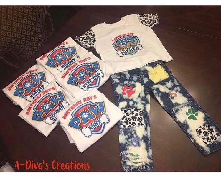 03a92851 Paw Patrol birthday boy outfit! Custom Denim jeans with matching shirt!