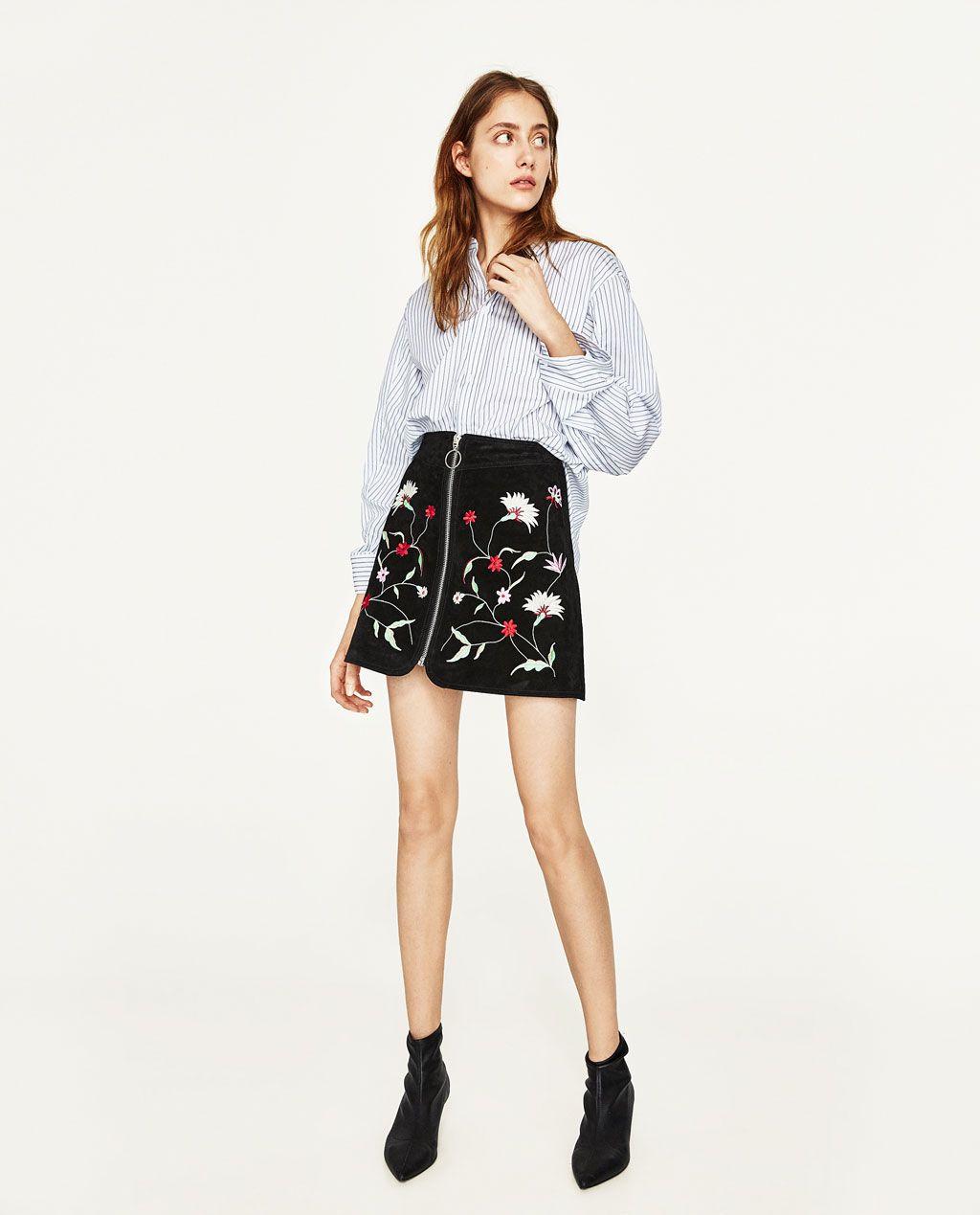 FALDA MINI ANTE BORDADA. Checked SkirtsWomen's SkirtsMini SkirtsSuede Mini  SkirtEmbroideryStyle InspirationMinisZara WomenEmbroidered Flowers