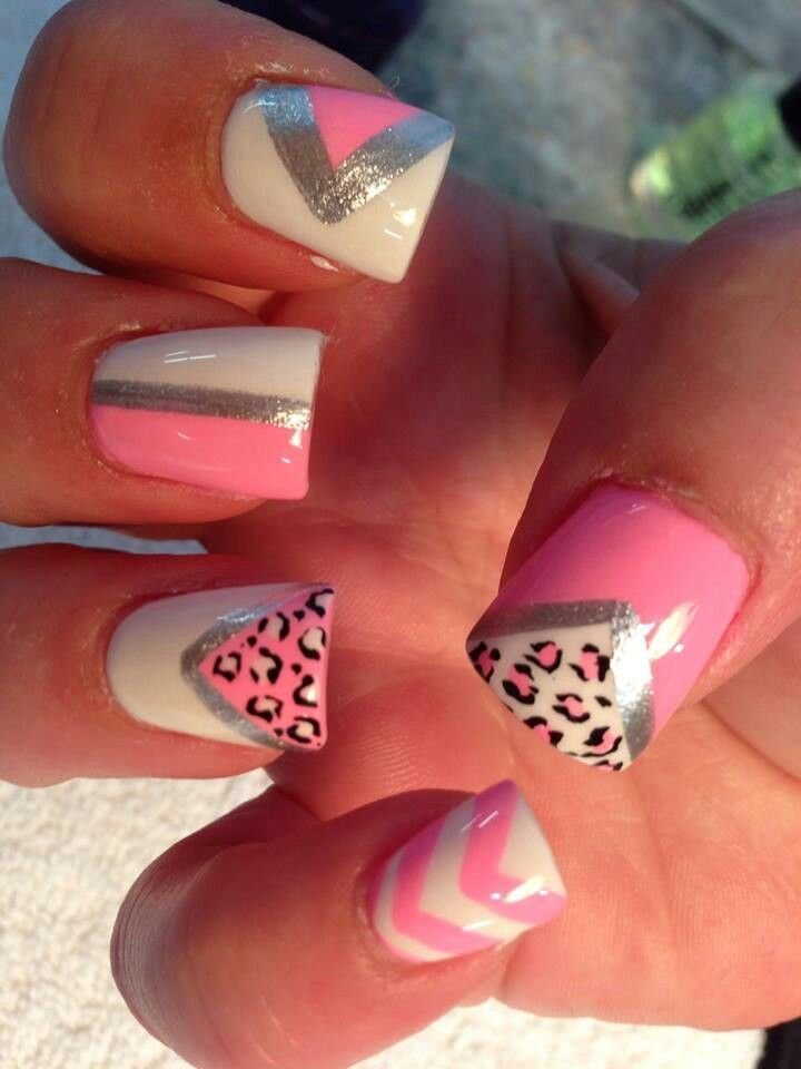 Beautiful Pink, White, Black, And Sliver With Chevron And Leopard Nail Art Design
