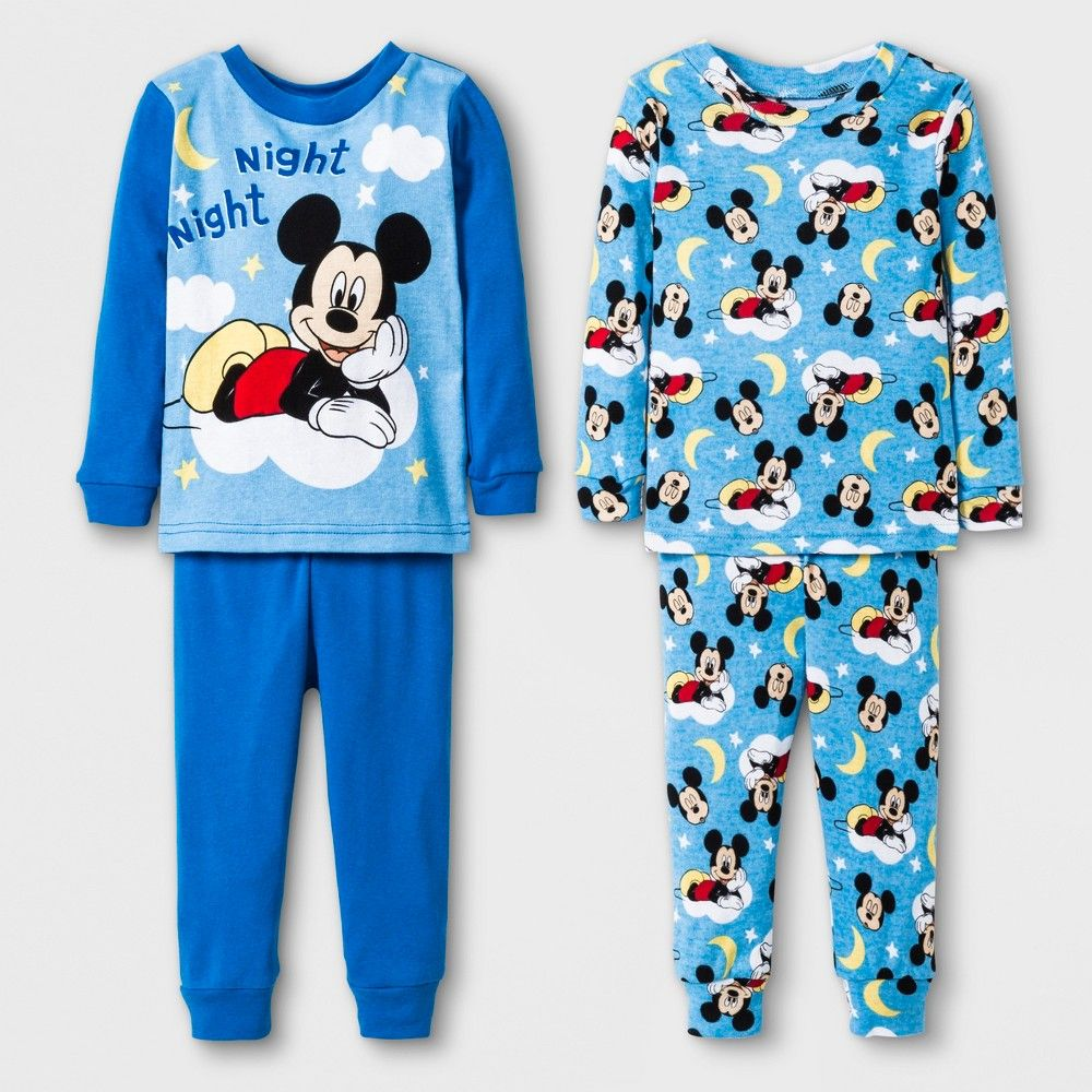 24875df35673 Mickey Mouse Baby Boys  4pc Cotton Pajama Set - Blue 18M