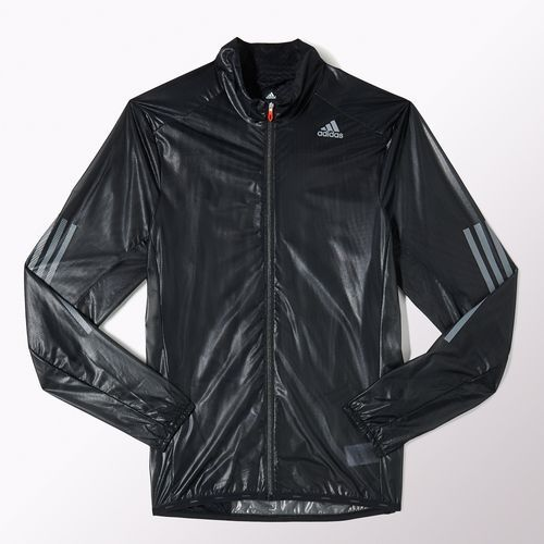 Adidas Adizero ClimaProof Jacket. Lightweight, water and water resistant, well ventilated. Can be packed up to fit in the pocket.